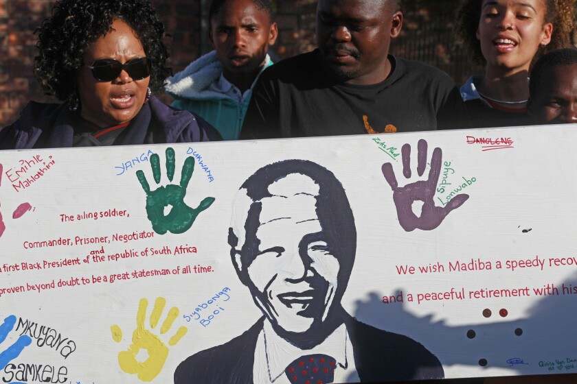Nelson Mandela receiving prayers for 'a peaceful, perfect end'