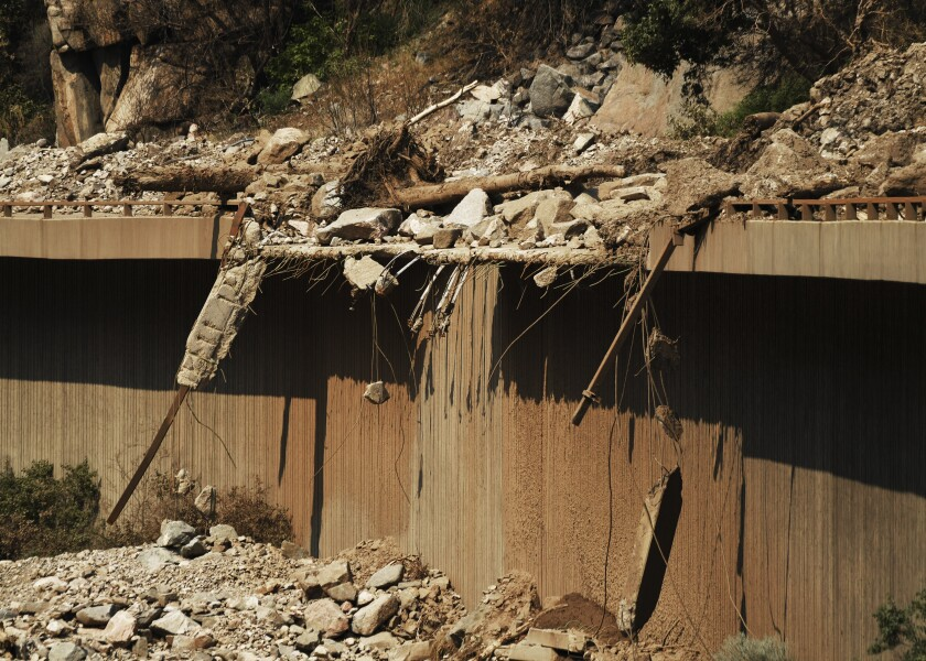 Debris from mudslides has Interstate 70 in Glenwood Canyon, Colo., closed