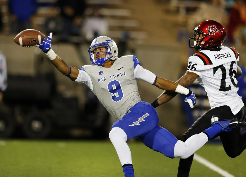 Air Force wide receiver Jalen Robinette stretches but misses a catch while pursued by San Diego State defensive back Marcus Andrews.
