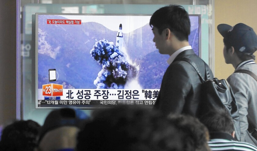 A news program in Seoul in April shows an image, published in the North Korean newspaper Rodong Sinmun, of an apparent North Korean missile test.