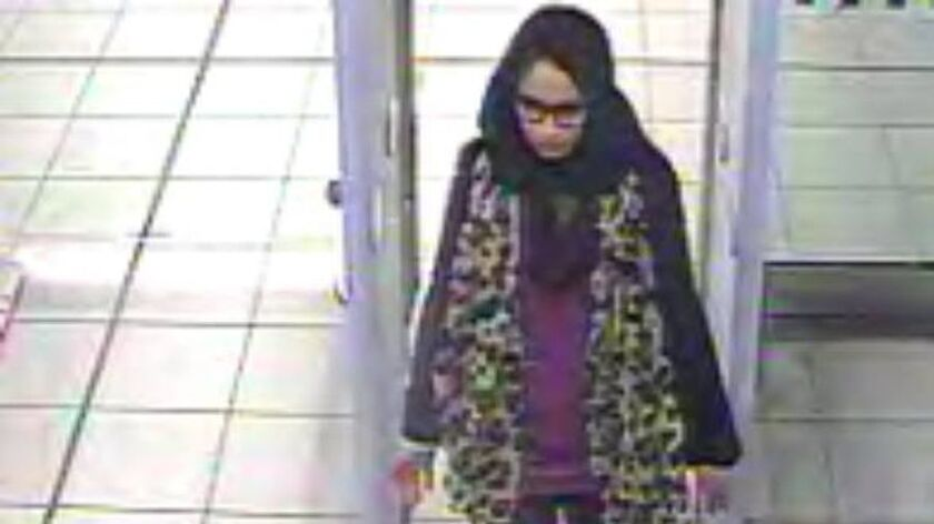 Shamima Begum in an image from security video at Gatwick Airport on Feb. 17, 2015, as she made her way to Syria to join Islamic State.