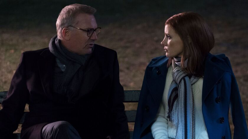 """Kevin Costner and Jessica Chastain in """"Molly's Game."""""""
