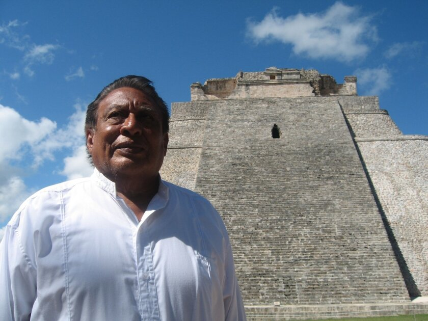 Don Gaspar Xiu at Uxmal, site of his family roots.