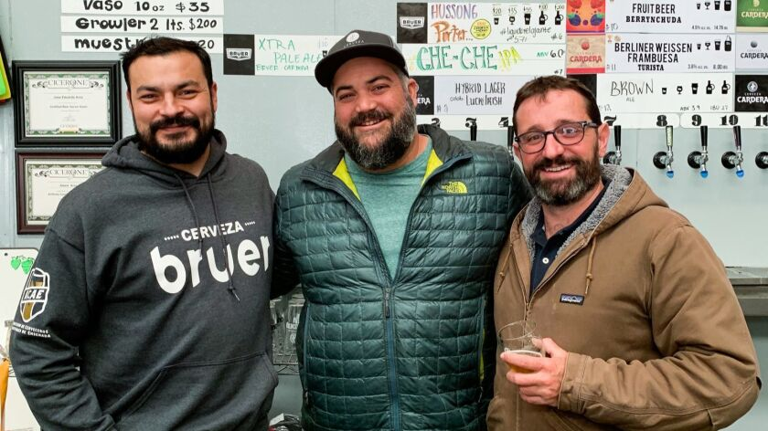 Three of Ensenada's brewers (from left): Eduardo Arce of Bruer, Armando Salazar of Cardera and Nathaniel Schmidt of Agua Mala.