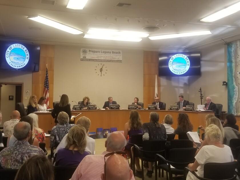 Laguna Beach citizens gather at City Hall on Tuesday, Sept. 10.