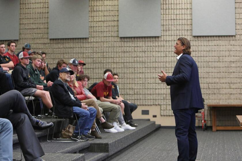 Hall of Fame pitcher Trevor Hoffman speaks at the TPHS Baseball lecture series
