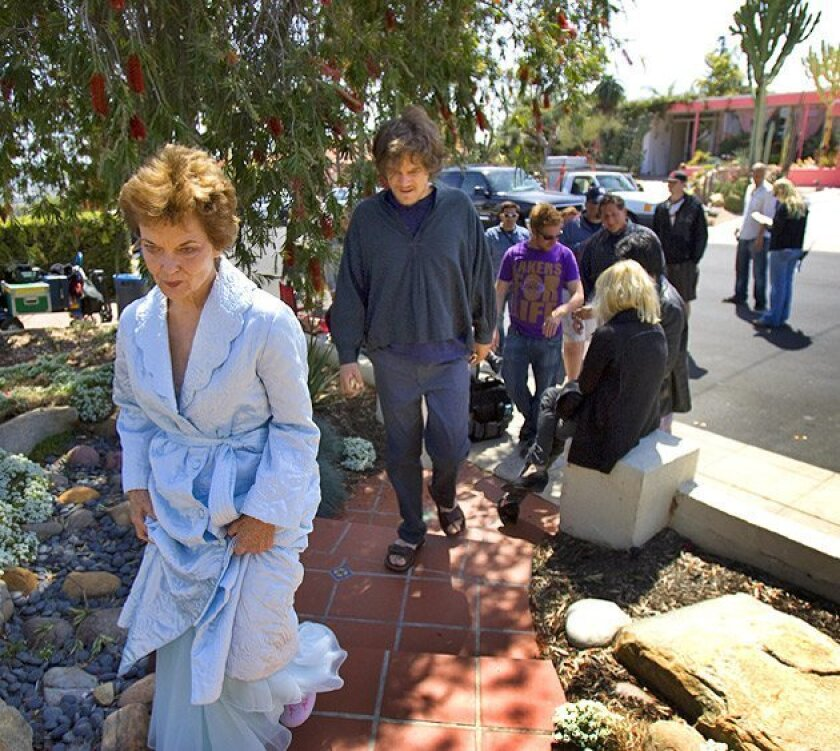 Grace Zabriskie and Michael Shannon, playing mother and son, returned to the set. (Nelvin C. Cepeda / Union-Tribune)