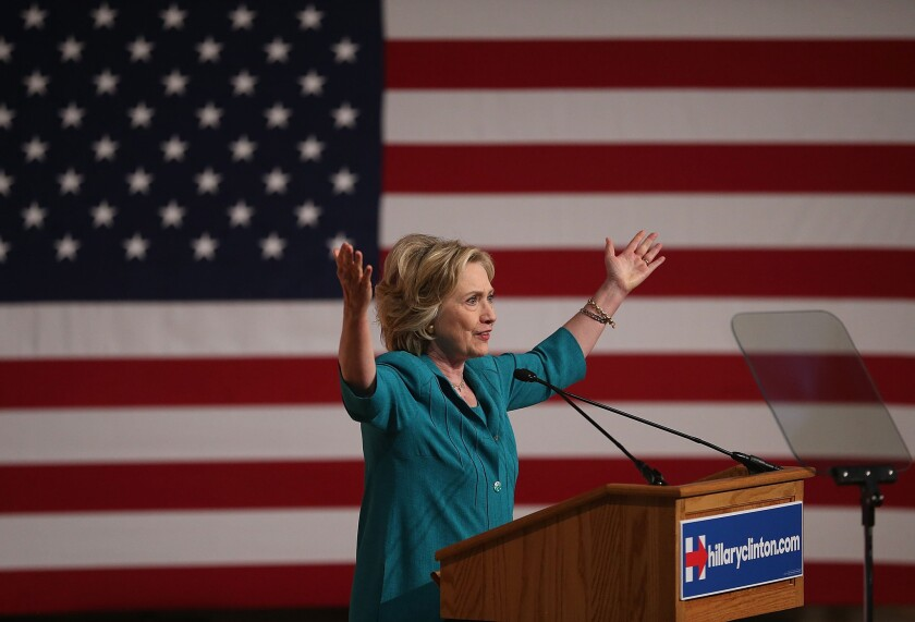 Democratic presidential hopeful and former Secretary of State Hillary Rodham Clinton called Friday for an end to the Cuban trade embargo during a speech in Miami.