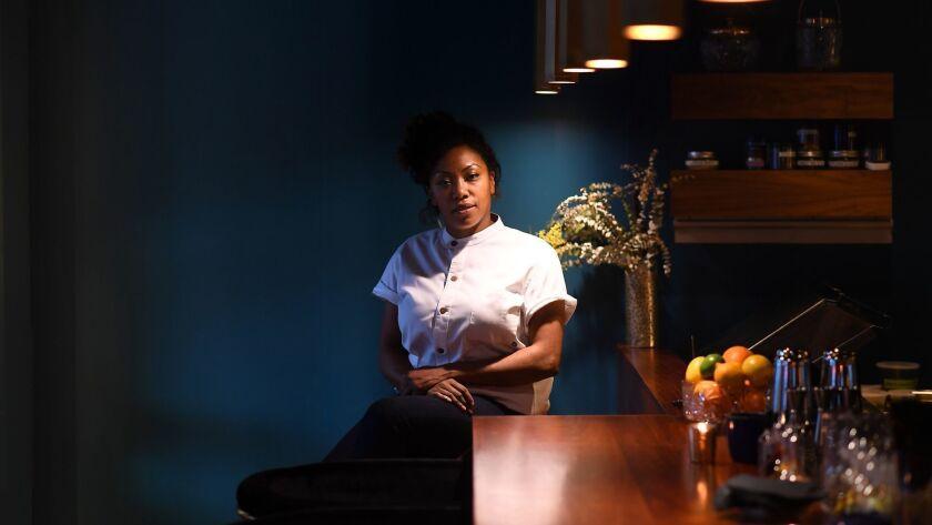 SANTA MONICA, CALIFORNIA MARCH 9, 2018-Head chef Nyesha J Arrington poses at the bar at Native resta