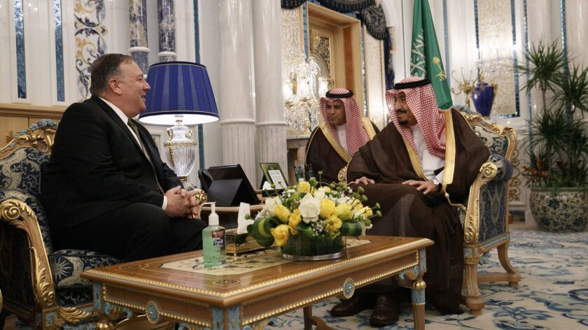 """U.S. Secretary of State Michael R. Pompeo, left, meets with Saudi King Salman at Al Salam Palace in the Red Sea city of Jiddah to build a """"global coalition"""" against the Islamic republic of Iran."""