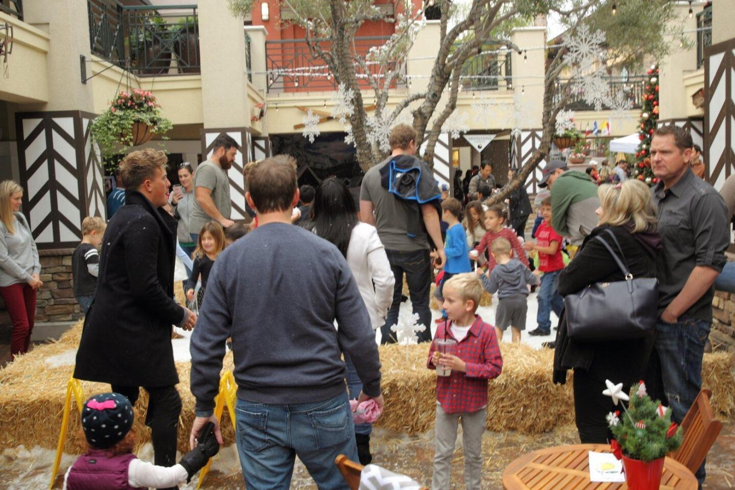 Families enjoy the snow village at Flower Hill Mall