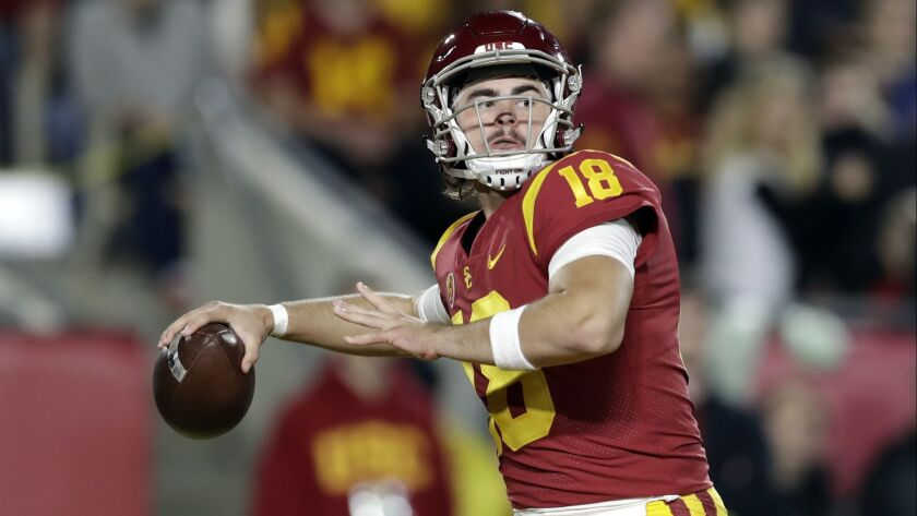 USC quarterback JT Daniels throws a pass against Colorado in October.