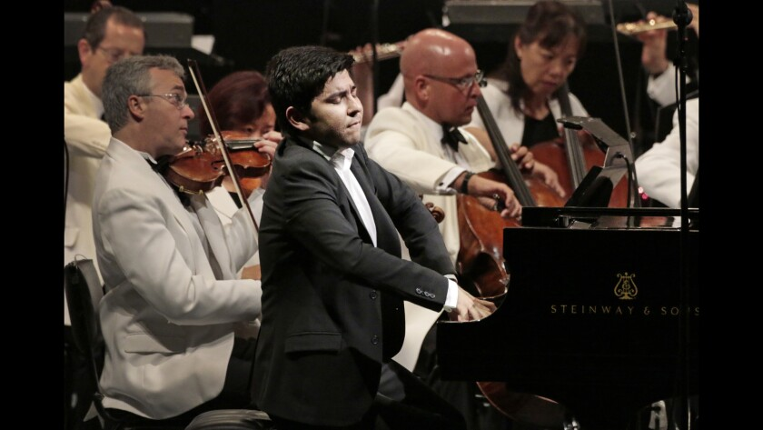HOLLYWOOD, CA. JUL. 15, 2014. Uzbeck pianist, Behzod Abduraimov, in Tchaikovsky's First Piano Conce