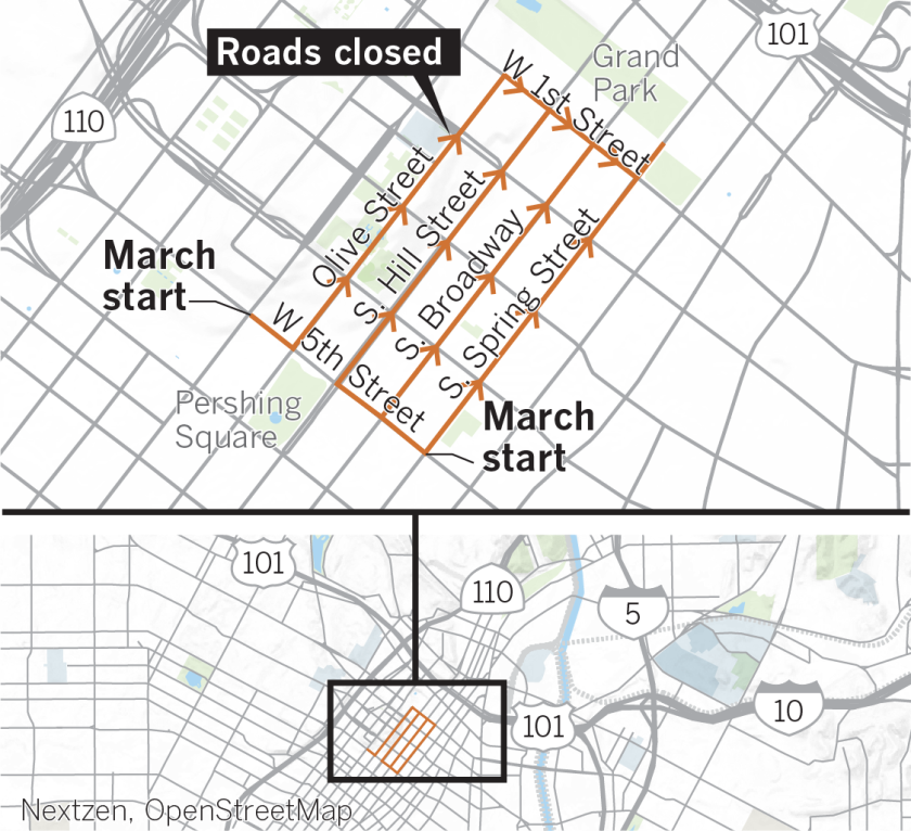 women's march road closures map