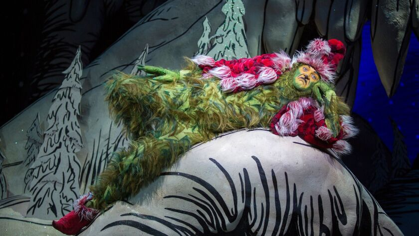 Edward Watts appears as The Grinch in Dr. Seuss's How the Grinch Stole Christmas!, book and lyrics b