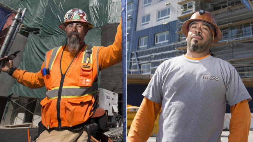 Carpenter Eddie Ybarra, left, makes $40 an hour as a union member. Francisco Martinez, right, makes