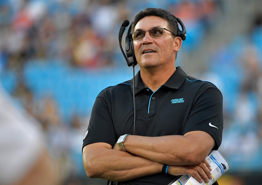 Former Carolina Panthers coach Ron Rivera has been hired as coach of the Washington Redskins.