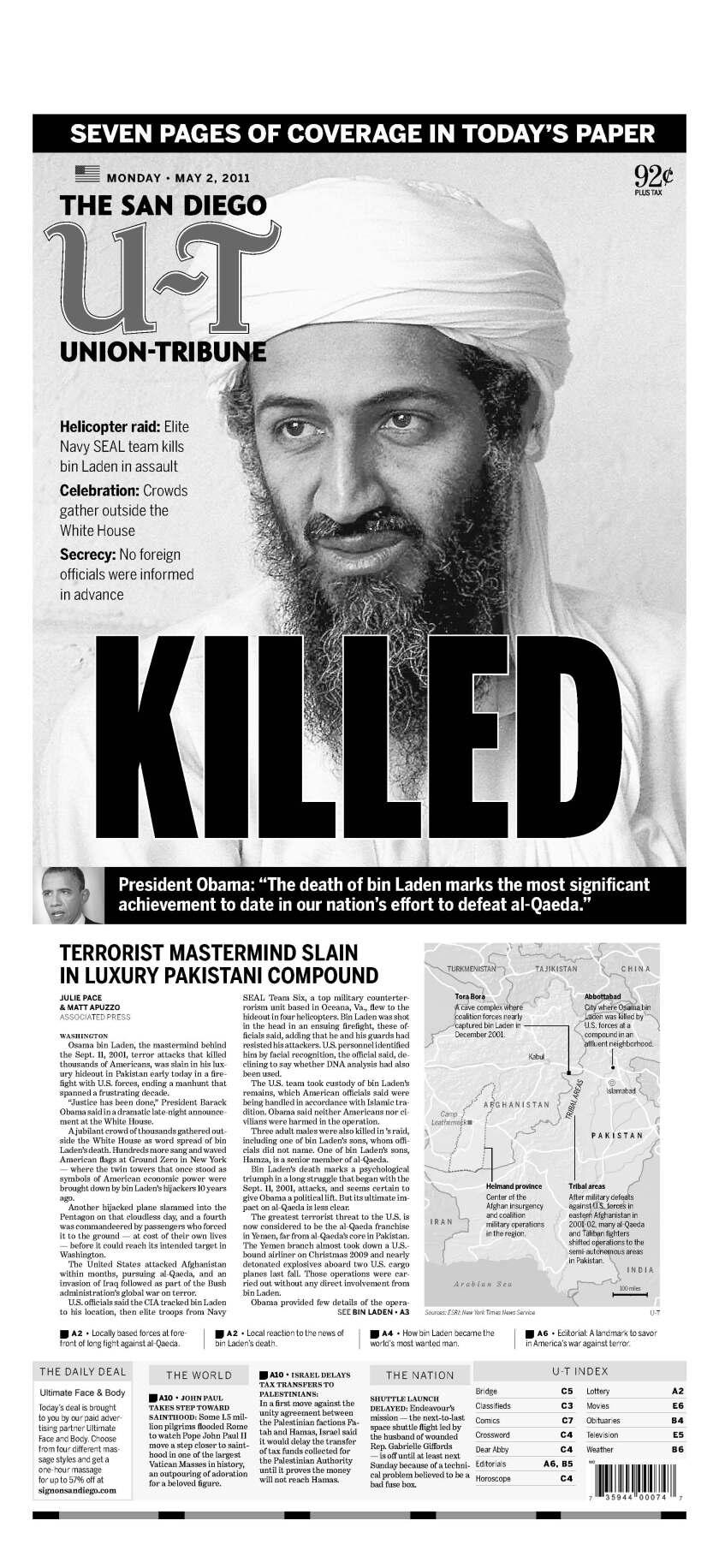 Osama bin Laden killed, U-T San Diego front page, May 2, 2011.