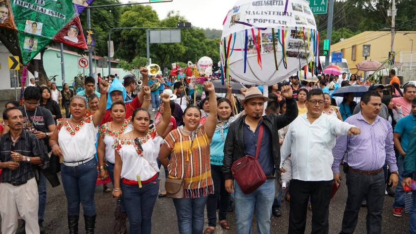Protesting teachers and their supporters took part in their own pre-Guelaguetza activities separate from the official festivities.