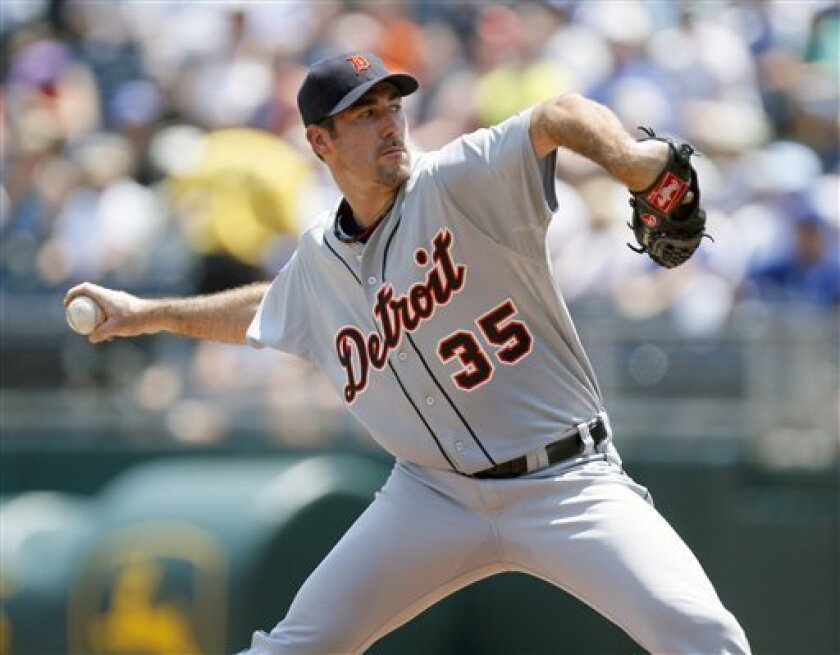 Detroit Tigers starting pitcher Justin Verlander (35) throws during the first inning during a baseball game against the Kansas City Royals, Sunday, July 10, 2011, in Kansas City, Mo. (AP Photo/Ed Zurga)