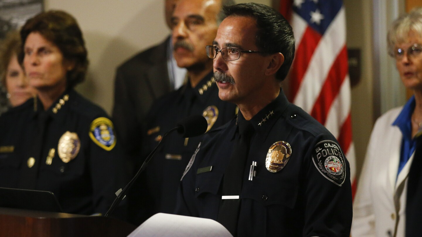 El Cajon Police Chief Jeff Davis answers questions from the press after he released the video of the officer involved shooting that killed El Cajon resident Alfred Olango this week. Mark Boster/ Los Angeles Times