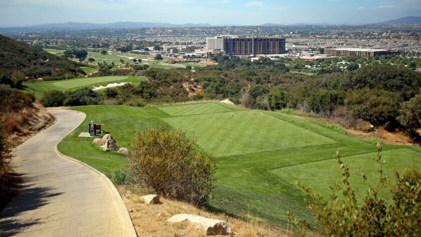 High elevation cart paths on Pechanga Resort & Casino's course helped earn it the name Journey. The impressive clubhouse is fittingly Journey's End.