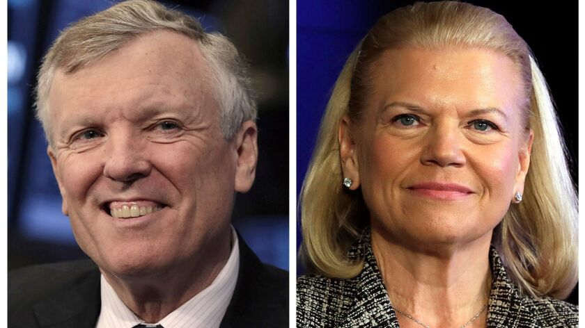 This photo combo of file images shows Charter Communications CEO Thomas Rutledge, left, and IBM CEO