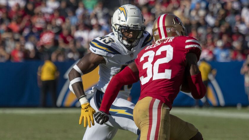 CARSON, CALIF. -- SUNDAY, SEPTEMBER 30, 2018: Chargers Michael Davis chases down 49ers D.J. Reed Jr.