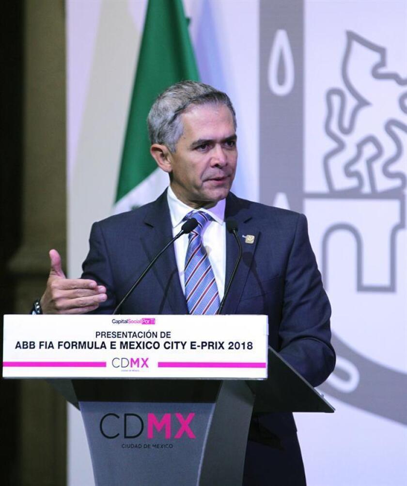 El exalcalde de la Ciudad de México, Miguel Ángel Mancera, participa el miércoles 24 de enero de 2018, durante la presentación del E-Prix de la Fórmula E que se corrió el 3 de marzo de dicho año en el Autódromo Hermanos Rodríguez, en Ciudad de México (México). EFE/Archivo
