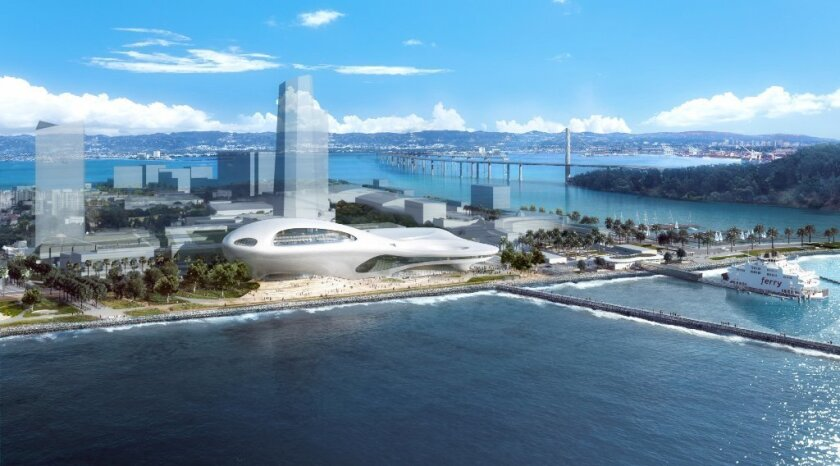 Chinese architect Ma Yansong's rendering of one version of George Lucas' proposed Museum of Narrative Art, this one on Treasure Island in San Francisco Bay. Lucas last week unveiled competing museum designs for properties in San Francisco and Los Angeles.