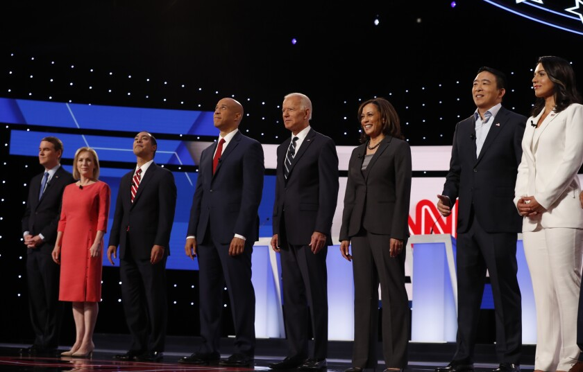 Candidates at the Democratic primary debate in Detroit on July 31, 2019.