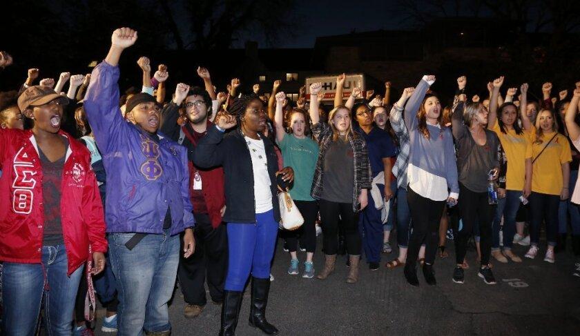 University of Oklahoma students rally outside the now-closed Sigma Alpha Epsilon fraternity house.