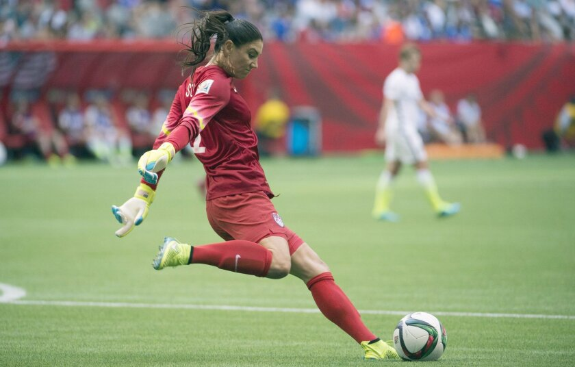 United States goalkeeper Hope Solo kicks the ball during the second half of a FIFA Women's World Cup soccer match against Nigeria, Tuesday, June 16, 2015 in Vancouver, New Brunswick, Canada (Jonathan Hayward/The Canadian Press via AP) MANDATORY CREDIT