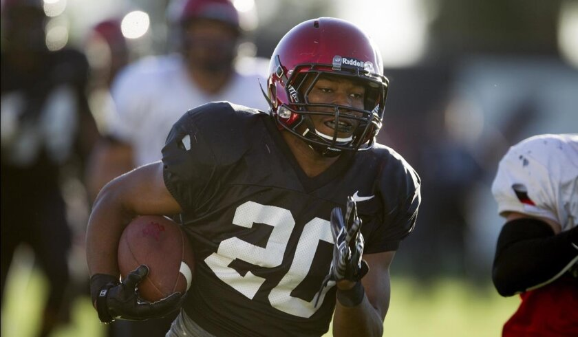 San Diego State's Rashaad Penny has 97- and 100-yard kickoff returns for touchdowns this season, tying a school record for most TD returns in a season.