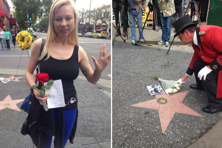 """Left: Mary Czerwinski, 33 of Hollywood, wears blue and black in honor of """"Star Trek"""" actor Leonard Nimoy's character Mr. Spock. Right: Gregg Donavon, 55, self-described ambassador of Hollywood, places white roses on Nimoy's star on the Walk of Fame."""