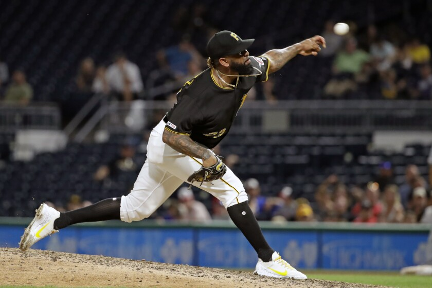 Pittsburgh Pirates closer Felipe Vazquez delivers against the Milwaukee Brewers on Aug. 7.