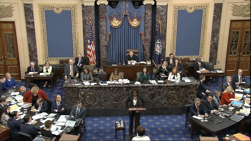 The impeachment trial of President Trump in the Senate.