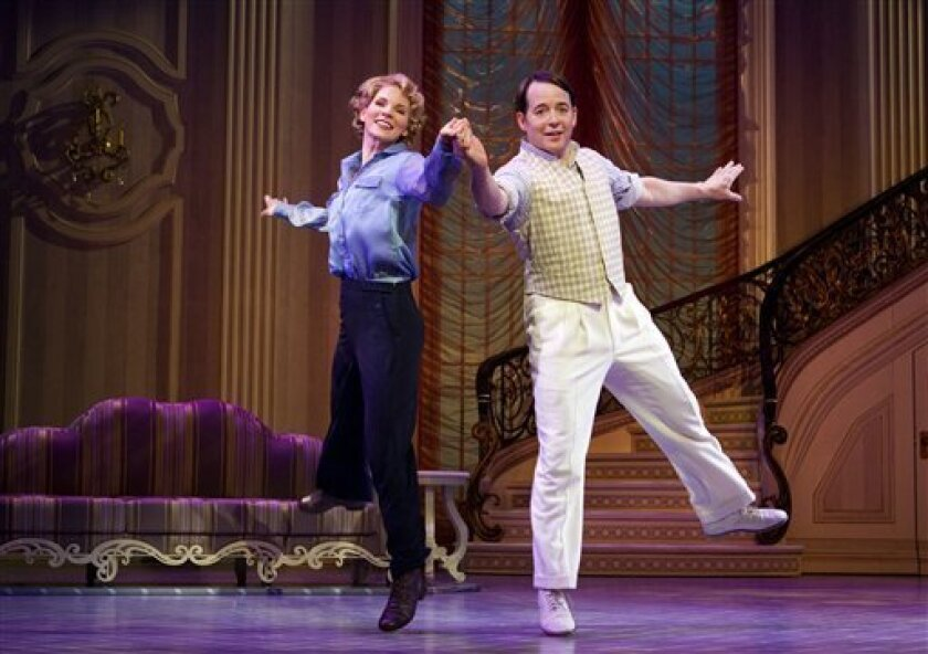 "FILE - In this publicity photo provided by Boneau/Bryan-Brown, Kelli O'Hara, left, and Matthew Broderick perform in the new musical comedy ""Nice Work If You Can Get It"" at Broadway's Imperial Theatre in New York. Producers of ""Nice Work If You Can Get It"" said Wednesday that Broderick has extended"