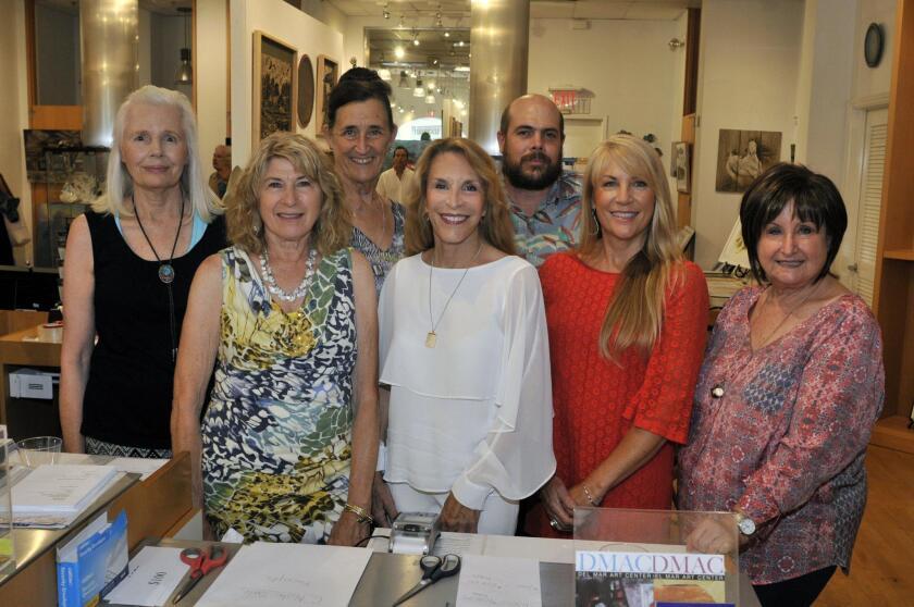 Artists Rosemary Valante, Karen Aschenbrenner, DMAC President Maidy Morhous, Julianne Ricksecker, Susan Darnall, Mac Hillenbrand, secretary Karen Fidel