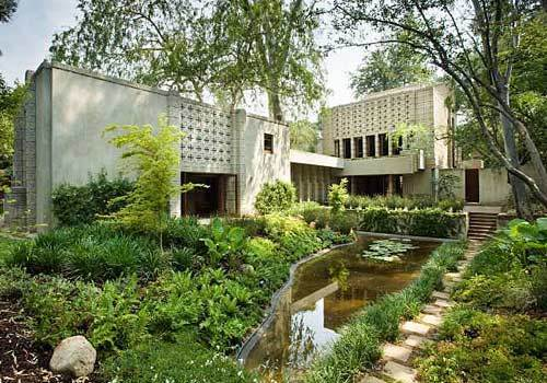 Frank Lloyd Wright's Millard House, also known as La Miniatura, is considered one of the best examples of the famed architect's textile-block designs. Situated in a tree-covered ravine overlooking a pond, it features an open floor plan and more vertical lines than typical Wright designs.