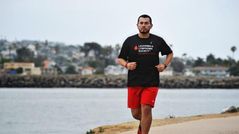 Gustavo Padilla of Chula Vista starts his 20 mile training run. He will be running in the San Diego Rock n Roll marathon. Gustavo is a cancer survivor and joined Team In Training, a flagship fundraising program for The Leukemia & Lymphoma Society.