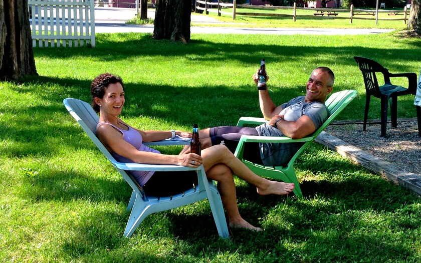 Participants kick back and sample local brews on a bicycle tour of Vermont.