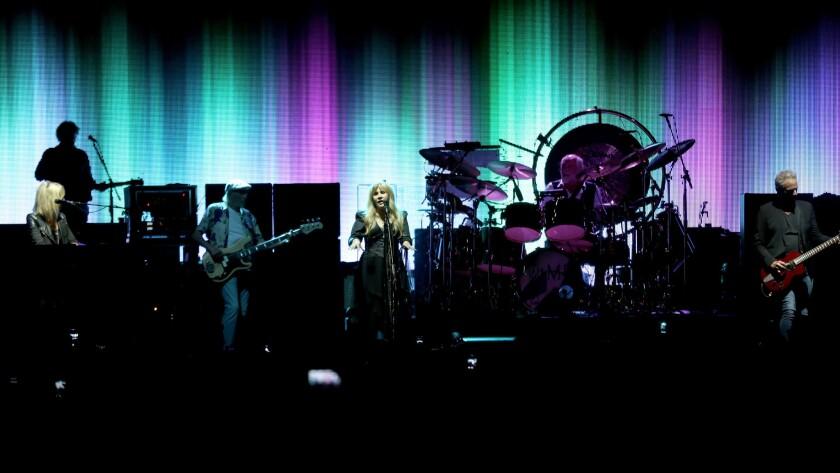 Fleetwood Mac performs Thursday night during the Blue Diamond Gala at Dodger Stadium.