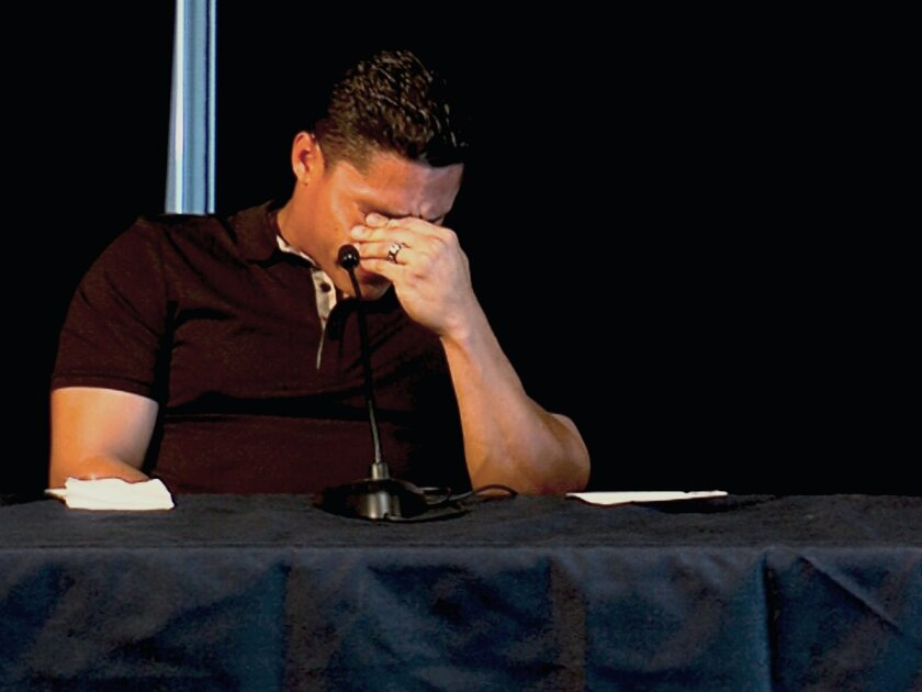 Padres shortstop Everth Cabrera, who was suspended by Major League Baseball for 50 games breaks down during a press conference Monday afternoon.