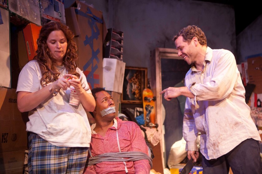 Jennifer Pollono, Burl Moseley and Joshua Bitton in 'Dirty Filthy Love Story' by Rogue Machine at Theatre/Theater.