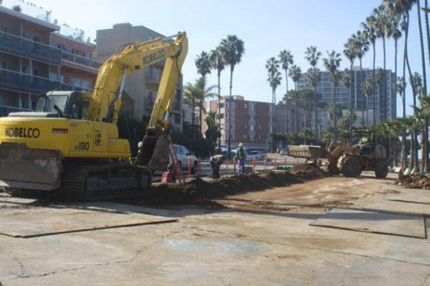 During the height of construction along coast Boulevard, much of the street is trenched. Photo taken Jan. 23.