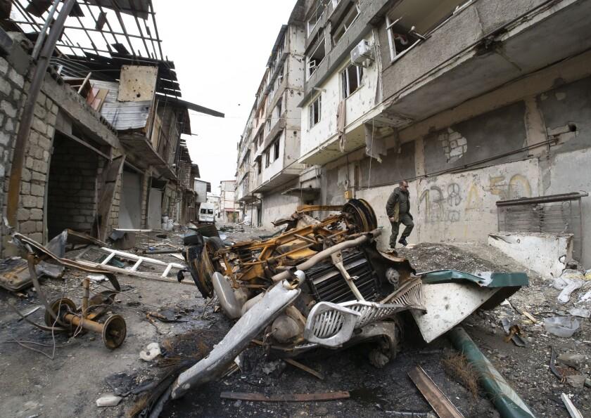 Apartment building damaged by shelling by Azerbaijani artillery in Nagorno-Karabakh