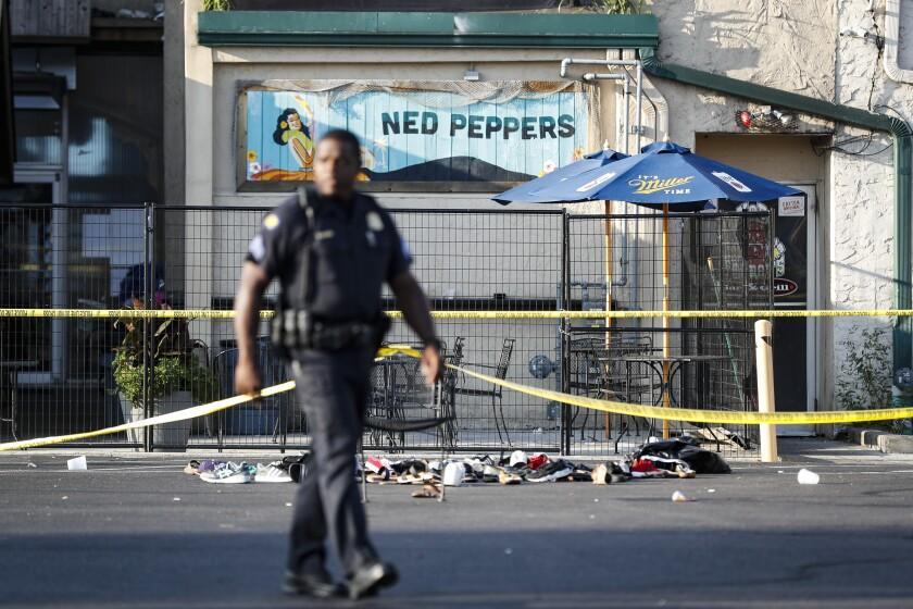 Escena de un tiroteo en masa en Dayton, Ohio