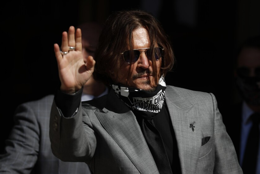 Johnny Depp arrives at the High Court in London on Tuesday for the final arguments in his libel lawsuit against the Sun.