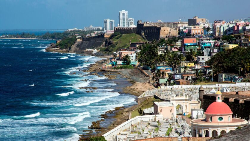 """""""Aerial view of Old San Juan cityscape and beach, Puerto Rico, United States"""" ** OUTS - ELSENT, FPG,"""